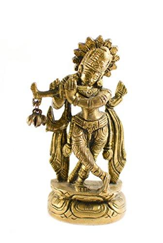 Messing Gold Ton Krishna Statue Auto Deco, Büro Decor, Tisch Decor Figur Spirituelle Welt - Art-deco-messing-tisch