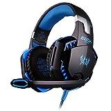 Bass Gaming Headset mit Mikrofon für PC Laptop Stereo Surround Sound On Ear Gaming Kopfhörer mit LED-Licht Lautstärkeregelung G2000 (Blau)
