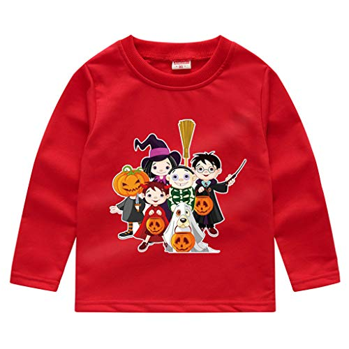 Party Stadt Babys Kostüm - Romantic Kinder Baby Jungen Halloween Kostüme Lange Ärmel Bat/Kürbis/Brief Gedruckt T-Shirt Schickes Kürbis Kostüm Top Sweatshirts für Karneval Party Halloween Fest (Rot 4, 120)