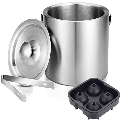 Faburo 1.3L Eiseimer Eiswürfelbehälter mit Zange Deckel Doppelstöckig Sektkühler Eisbehälter Weinkühler aus Edelstahl mit Flaschenöffner Eiswürfelformen
