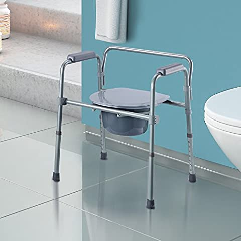Homcom – Comoda Sedia WC Altezza Regolabile in Tubi di Ferro 53.3 x 56.5 x 60-74.5cm Grigio
