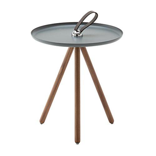 Rolf Benz 973 Beistelltisch, eisengrau RAL 7011 Tischplatte Stahl Ø 40cm Gestell amerikanischer Nussbaum H81 -