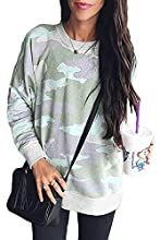 Dokotoo Womens Casual Camouflage Crew Neck Sweatshirt Long Sleeve Baggy Oversized Jumpers Tops Green Size 12 14