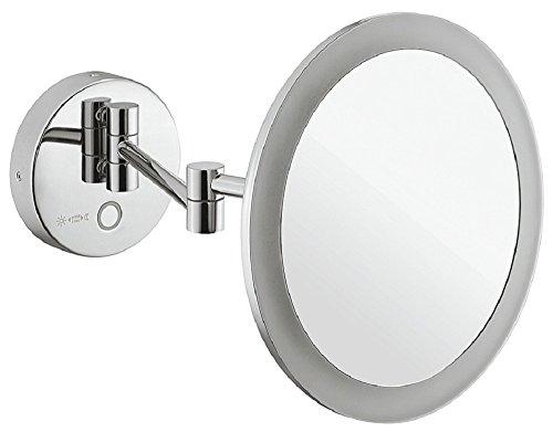 Gedotec Badezimmer-Spiegel Messing rund Bad-Spiegel chrom poliert Kosmetikspiegel für Kinderzimmer | Version H1052 | Wandspiegel inkl. 5-fach-Vergrößerung | 1 Stück (Bad Gold Möbel Licht)