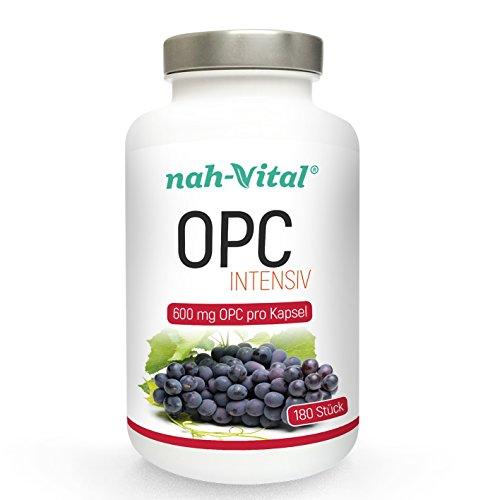 nah-vital OPC intensiv   ½ Jahr   hochdosiert   180 Kapseln mit je 600mg OPC   vegan, kristallzuckerfrei, laktosefrei   deutsche Premiumqualität