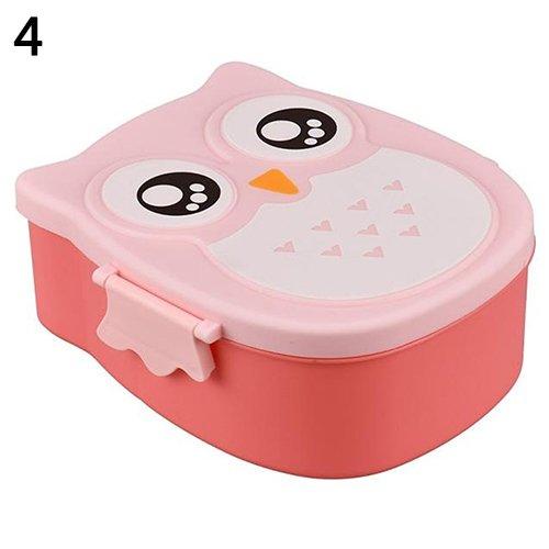 TLfyajJ Nette Eulen Form Brotdose Plastiknahrungsmittelbehälter-tragbare Bento-Box, plastikfrei, BPA frei, auslaufsicher | Spülmaschinen- Und Mikrowellenfest Rosa (Planetbox-lunch-box)