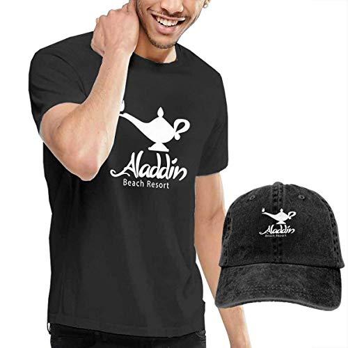 Kalinanai T-Shirts, T-Stücke, Al-addin Men's Classic T-Shirt mit Washed Denim Baseball Hat Schwarz -