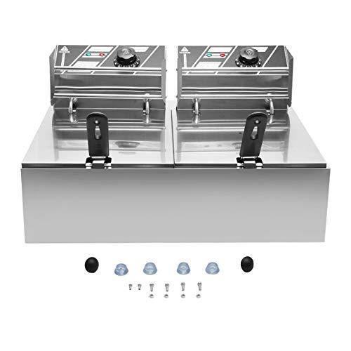 Kommerzielle Professionelle Elektrische Edelstahl Doppel Töpfe Friteuse Twin-tanks Mit Deckel Körbe 2 x 10 Liter Eu-stecker (silber) (Topf Für Friteuse)