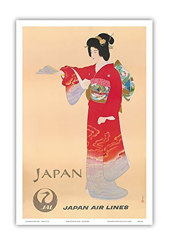 Pacifica Island Art Japan-Japan Air Lines Jal-Geisha in Rotem Kimono-Vintage Airline Travel Poster von Mitsumura c.1950s-Master Kunstdruck 12