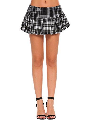 Avidlove Sexy Minirock Kurz Cosplay Schulmädchen Kariert Mini Röcke Faltenrock Babydoll Kostüm Kleid Dessous Halloween Kostüm für Frauen, Größe L, Farbe - Kleid Kurzen Schwarzen Halloween-kostüm