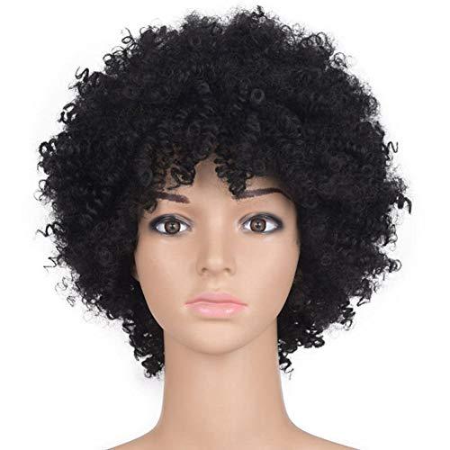 (Damen Frauen Perücke Schwarz Für Glamourös Haarteil Fashion Natürlich Aussehende Glueless Qualitativ Hochwertige Mix Gewellt Natürliche Perücke Voluminöse Perücke Wig,Black)