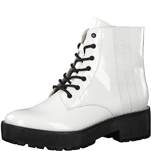 s.Oliver Damen Stiefel 25221-23, Frauen Schnürstiefel, Freizeit leger Boots Combat schnürung Damen Frauen weibliche Lady,White PATENT,40 EU / 6.5 UK -