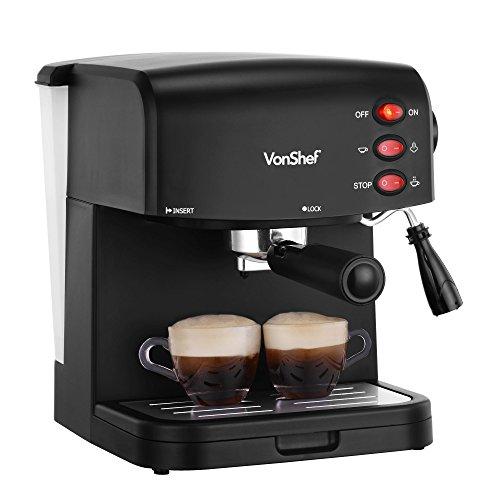 VonShef 15 Bar Pump Espresso Coffee Maker Machine - Free 2 Year Warranty - Create Espressos, Lattes, Cappuccinos amp; More!