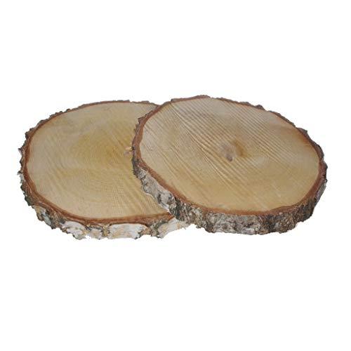 2 MEGA Birkenholzscheiben - Baumscheibe - Natur - unbehandelt - ca.Ø 25-30 cm x ca. 3-4 cm Höhe - 1VE = 2 Stück - 25489