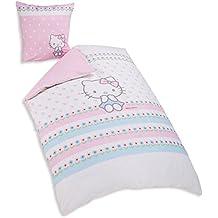 CTI 042535Hello Kitty funda de edredón de 140x 200cm + funda de almohada 63x 63cm algodón Rosa blanco/azul