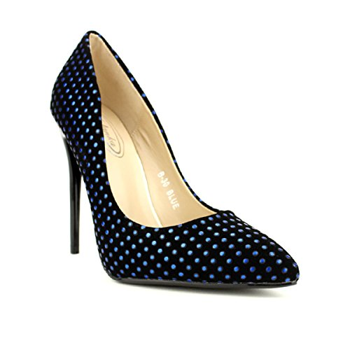 Cendriyon Escarpins à Pois Blue MULANDA Chaussures Femme Bleu