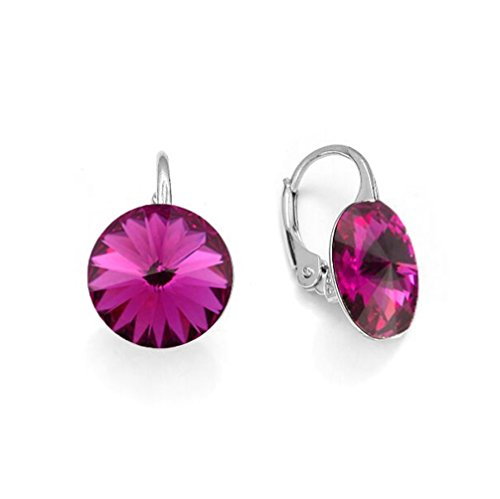 Ana Morales Boucles d'oreille pour femme En argent Sterling 925 Avec cristaux Swarovski® fuchsia