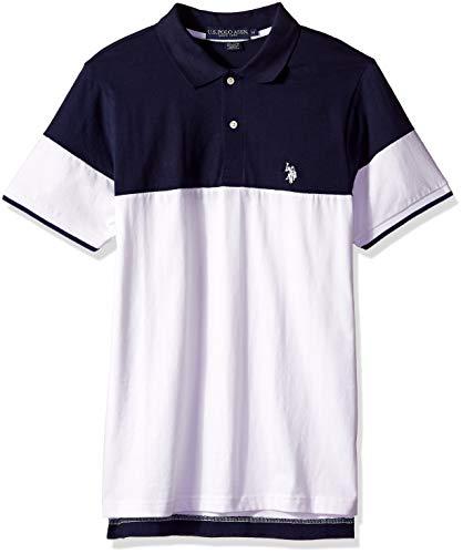 U.S. Polo Assn. Herren Short Sleeve Classic Fit Color Block Jersey Polo Shirt Poloshirt, weiß, Groß (Assn Polo Polo Us)