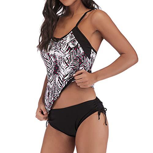 SuperSU-Bademode ►▷Damenmode Sommer Übergröße Bikini Blume Print High Waisted Push up Split Badeanzug Kleider S~5XL,Frauen Urlaub Bademode Zweiteiler Badebekleidung Beachwear - Blume, 90 Kapseln