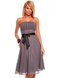 Knielanges Bandeau Kleid Chiffon Ballkleid Abendkleid Cocktailkleid Festkleid XS bis XXL