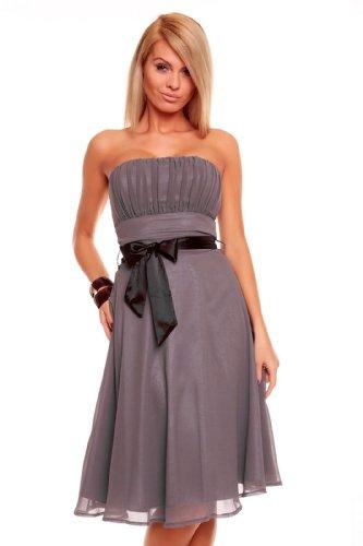 Knielanges Bandeau Kleid Chiffon Ballkleid Abendkleid Cocktailkleid Festkleid XS bis XXL M (36) Grau