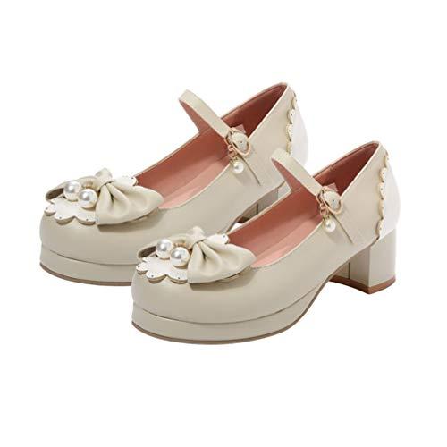 Holibanna Zapatos de Mujer Lolita Rockabilly Mary Jane Plataforma Bloque Tacón Bombas con Perla Arco Punta Redonda Zapatos de Tacón Elegante para Estudiantes Niña 35.5 EU