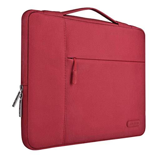 MOSISO Tasche Sleeve Hülle Kompatibel mit 13-13,3 Zoll MacBook Air, MacBook Pro, Notebook Computer, Polyester Multifunktion Laptoptasche Aktentasche Handtasche, Rot