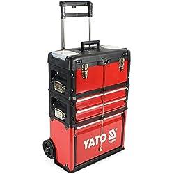 Yato YT-09101-Caisse à outils à roulettes avec 3parties
