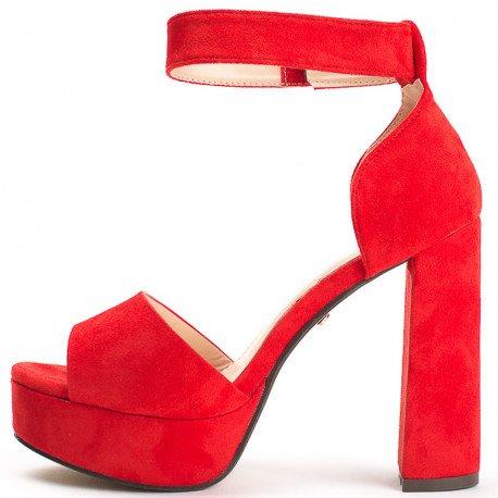 Ideal Shoes - Sandales à plateforme effet daim Hugoline Rouge
