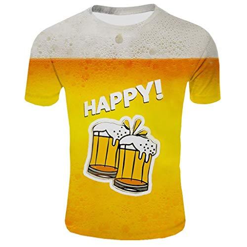 WQIANGHZI 3D Druck Tshirt Herren Kurzarm 3D Print Bunt T-Shirts Oberteile Frühling Sommer Männer Lässige Mode Round Hals Hemden Tops - Logo Bestickte Jeans Shirts