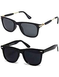 Younky Unisex UV Protected Wayfarer Stylish Mercury Sunglasses For Men Women Boys & Girls (YNKY_BlkStk-BlkWay|55|Black) - 2 Sunglass Case