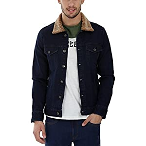 Zobello Men's Denim Sherpa Collar Jacket Best Online Shopping Store