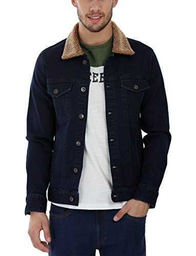 Zobello Men's Denim Sherpa Collar Jacket