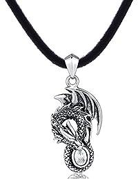 DonDon Herren Halskette Kautschuk 50 cm und Drachen Anhänger aus Edelstahl mit weißem Stein in einem Samtbeutel