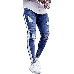 DOGZI Hombres Pantalones,antalones Vaqueros Rotos Hombre Jeans Pantalones Elásticos Skinny Slim Fit Delgados Pantalones Largos de Mezclilla de Cintura Baja de Pitillo