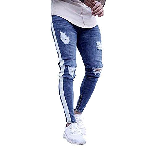 Pantalones Vaqueros Rotos Hombre,Jeans Pantalones Vaqueros Elásticos Skinny Slim Fit Delgados, Pantalones Largos de Mezclilla de Cintura Baja de Pitillo (Blanco, M)