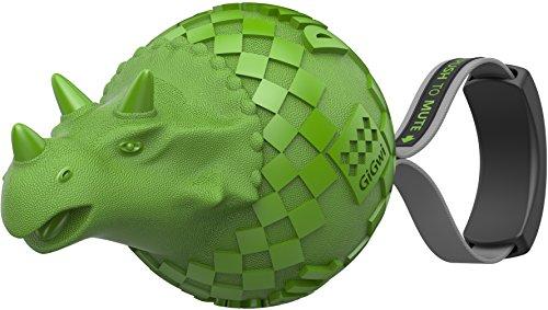 GiGwi 6460 Hundespielzeug Push-to-Mute Dinoball Triceratops mit oder ohne Quietscher, aus Gummi, Apportierspielzeug, grün