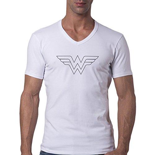 The Wonder Woman Logo In WHite Herren V-Neck T-Shirt Weiß