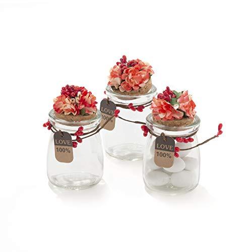 20 pezzi barattolo vetro con tappo in sughero porta confetti bomboniera incluso decorazione fatto a mano fiore pistilli etichetta tema naturale (rosso)