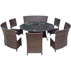 Baidani Gartenmöbel-Sets 10d00013.00002 Designer Lounge-Garnitur Timeless, 1 Tisch mit Glasplatte, 3 Stühle, Doppelsitzer, passenden Sitzauflagen, braun