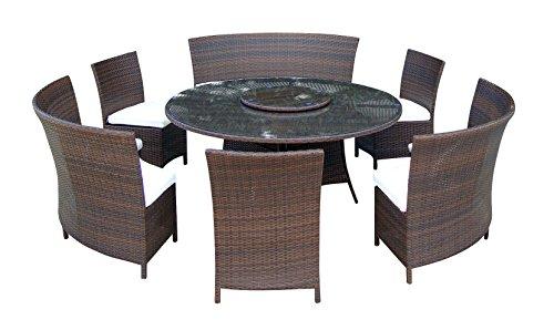 Baidani Gartenmöbel-Sets 10d00013.00002 Designer Lounge-Garnitur Timeless, 1 Tisch mit Glasplatte,...