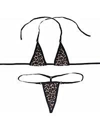 iEFiEL Bañador para Mujer de Dos Piezas con Cuello Halter de Estampado de Leopardo/Negro/Blanco/Rosa/Rojo/Beige