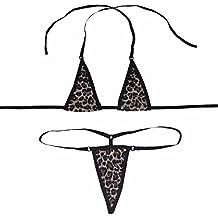 iEFiEL Bikini de Tres Puntos Bañador para Mujer Dos Piezas Sujetador Bra Tanga con Cuello Halter Ropa Traje de Baño