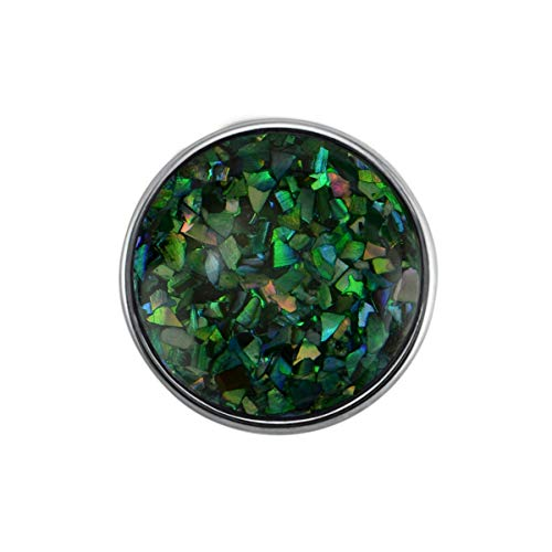 Quiges Damen Click Button 18mm Chunk Perlmutt Multi Grün Flocken für Druckknopf Zubehör