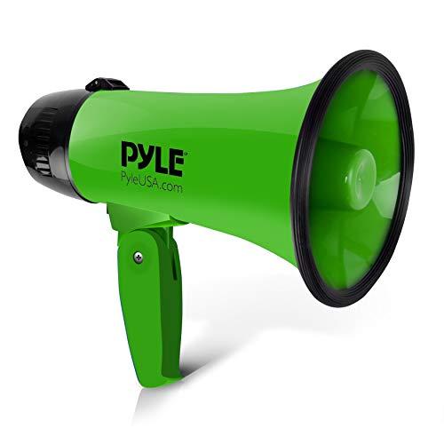 Megafon Lautsprecher von Pyle 20 Watt - Megafon mit Sirene - Lautstärke einstellbar, verfügt über eine Reichweite von 400 Metern (Grün) Sirene 20w