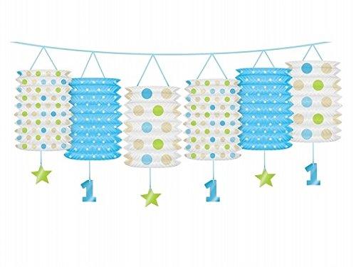 Laternen-Girlande zum ersten Geburtstag in blau oder rosa - Geburtstagsdekoration (blau) (Geburtstag Zum Spielzeug Ersten)