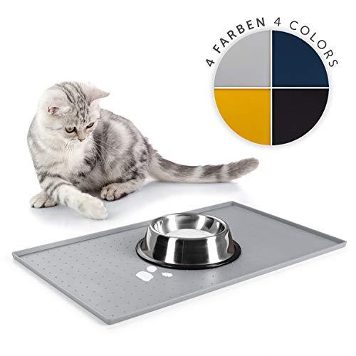 EVERANIMALS rutschfeste Napfunterlage Hund Katzen - Fressnapf Unterlage, Silikonmatte (50 x 30 cm - Grau)