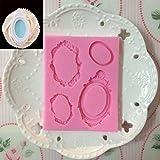 LBOJA Gepr?gte Spiegelrahmen Silikon Schokoladenkeks Kuchen dekorieren Backform - Pink