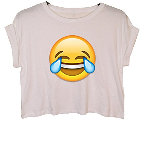 Laughing Crying Face Emoji Crop Top Weiß