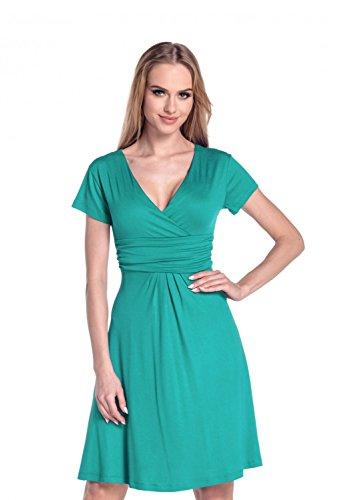 Ausgestellter Schnitt Kleid Sommer Jersey Skaterkleid 108 (Teal, EU 44, 2XL) ()